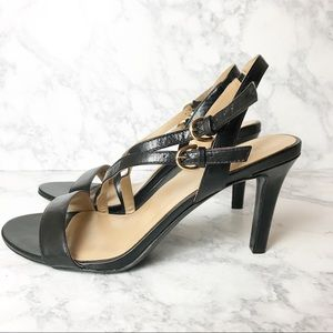 Naturalizer Black Leather Open Toe Heel